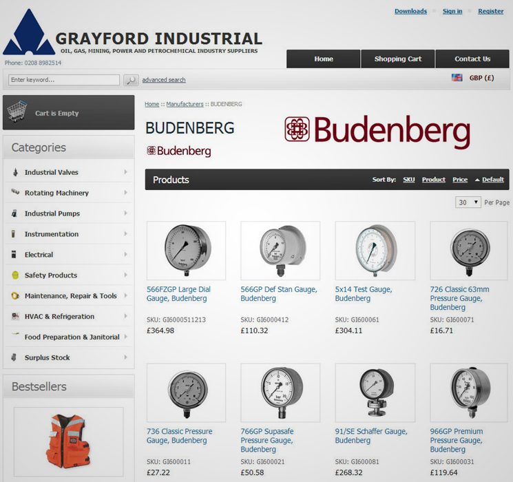 Full range of Budenburg Pressure and Temperature Gauges Available Online